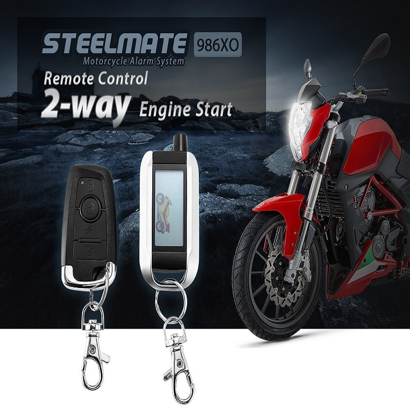 Steelmate 986XO Motorcycle AntiTheft Security Alarm System 2-way LCD Transmitter Remote Control Engine Start Water Resistant ECU(China (Mainland))