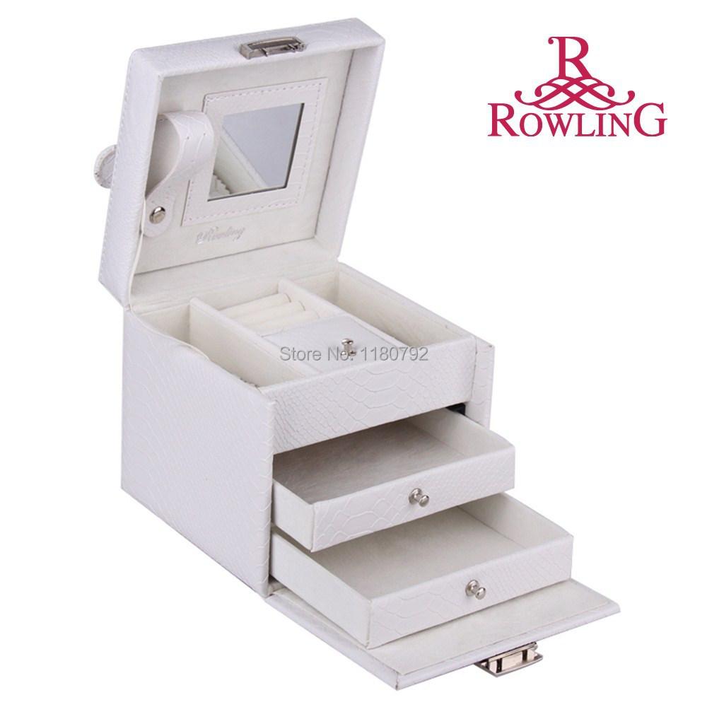 [ROWLING] WHITE&BLACK Faux Leather Jewelry Box Beads Ring Bracelet Storage Box Jewelry Organizer Gift Box Travel Case ZG075(China (Mainland))