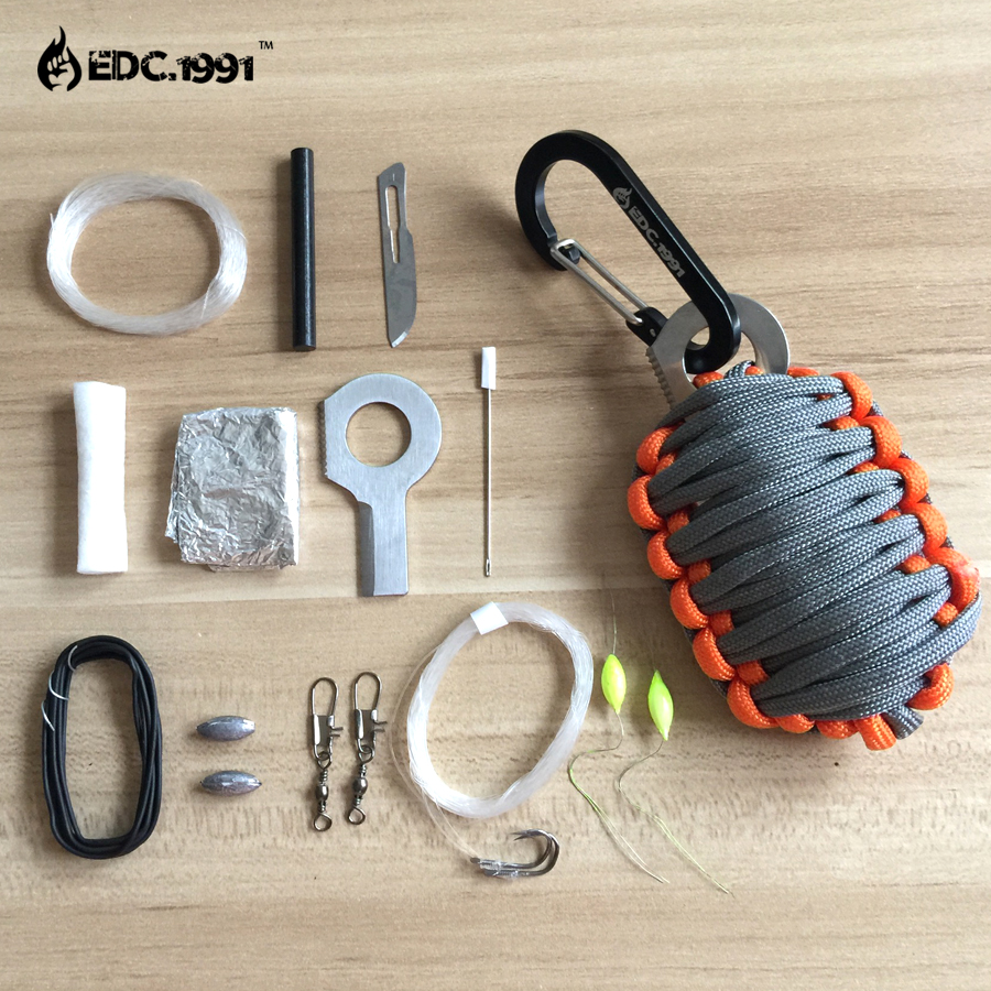 Grenade Survival emergent kit carabiner parachute cord paracord Camp Hike Hunt Outdoor eye knife fire starter fish tool(China (Mainland))