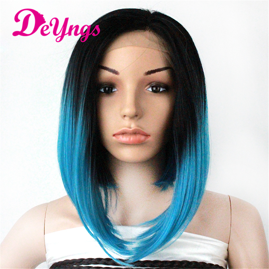 14 Inch Silky Straight синтетический Lace Front парик Perruques синтетический Femme Blue Ombre Wigs Peruca Front Lace Wigs African America