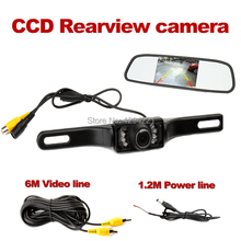 wire Car Rear View Parking Camera Waterproof IP68 Reverse Backup +4.3 imch mirror monitor