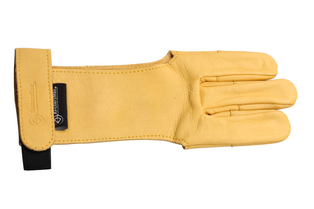 ArcheryMax Hunter TRADITIONAL Shooting Yellow Cow Leather Gloves Archery Finger