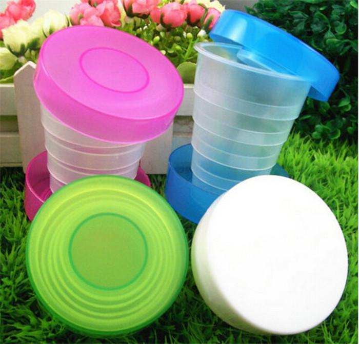 Water Bottles Plastic shrink advertising cup Collapsible portable travel mug stretching class Random Color 7.8*7CM 30G H-130(China (Mainland))