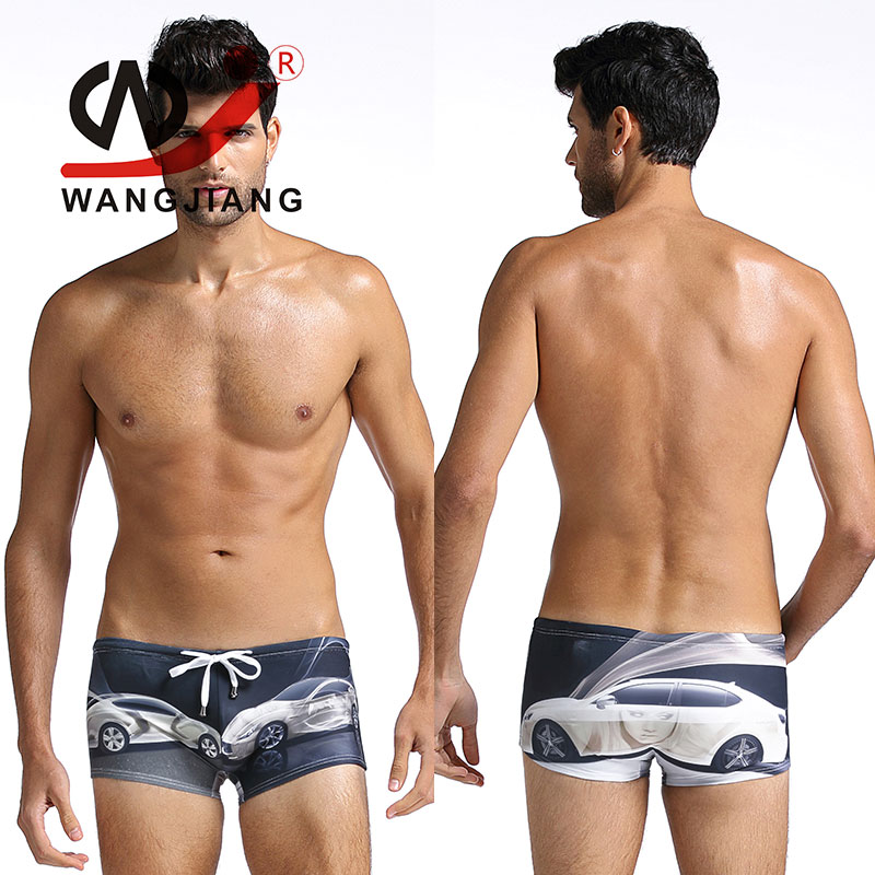 Male Underwear Boxers Cuecas Swimsuit Men Swimwear Calzoncillos Hombre Boxer Marca Spandex Printing Bikini String Swimsuit(China (Mainland))