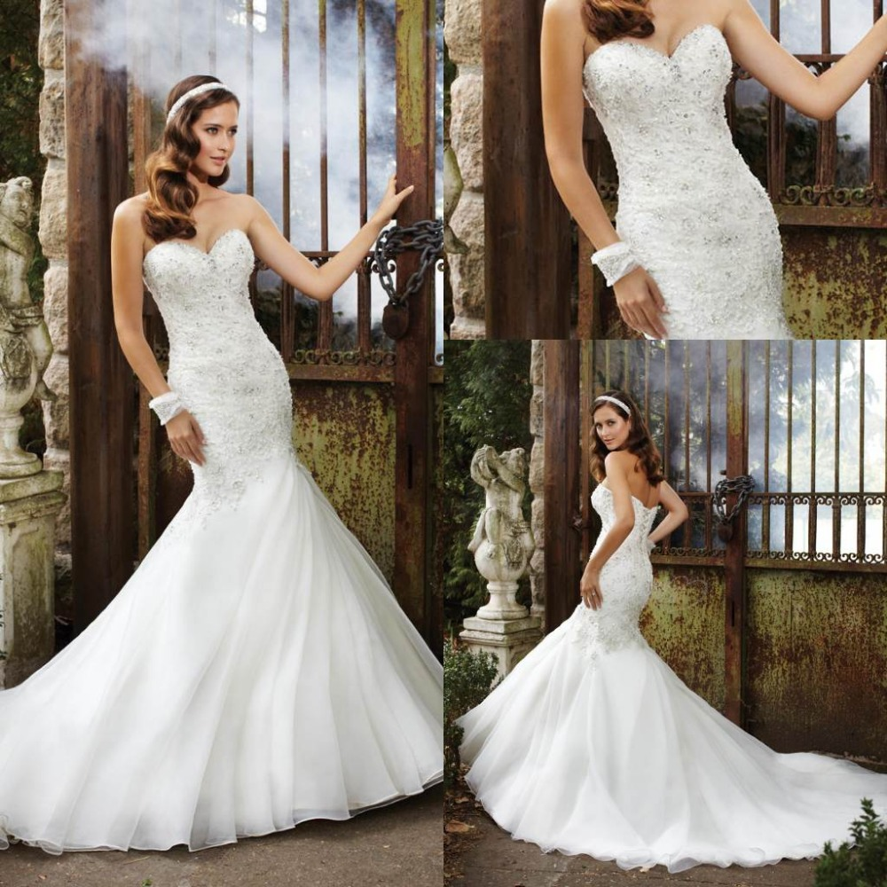 Mermaid Wedding Dresses With Long Trains : Com buy luxurious crystals pearls mermaid wedding dresses long train