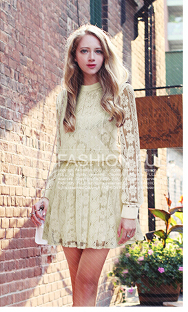 Autumn new European and American women's plus size Slim thin lace dress bottoming