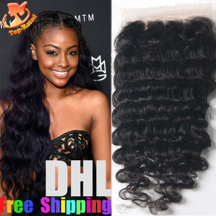 Cheap Brazilian Silk Base Closure Deep Wave Human Hair Silk Top Lace Closure Free Middle 3 Part Silk Base Closure With Baby Hair(China (Mainland))