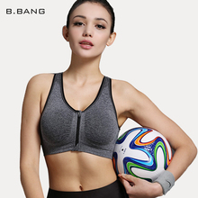 B.BANG 2015 Summer Style Women Running Sports Bra Top with Front Zipper Push Up Seamless Padded Fitness Underwear Free Shipping(China (Mainland))