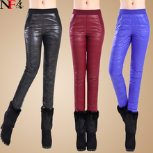 2014 New Down Pants ,Double-Sided Duck Stretch Mid Waist Thickening Trousers ,Big Size Slim Thin Cotton Pants(China (Mainland))
