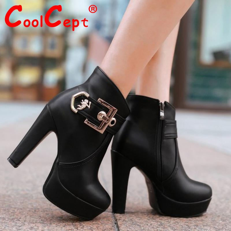 women high heel half short ankle boots martin fashion sexy winter botas buckle warm footwear boot heels shoes P20017 size 32-43<br>