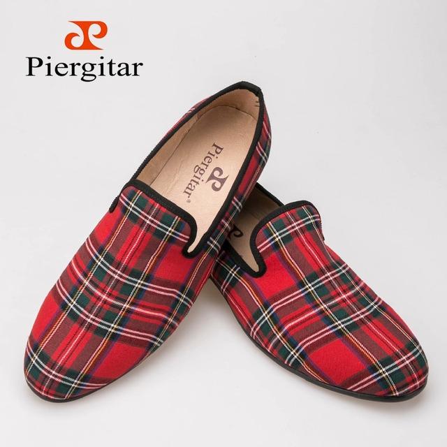 Нью-scotch пледы ткани мужчины обувь мужчины красный и синий свободного покроя мокасины ...
