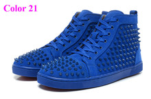 New Arrival 2015 Spike Studded Red Bottom Sneakers For Men Luxury Brand Designer Flats Genuine Leather High Top Trainer Shoes(China (Mainland))