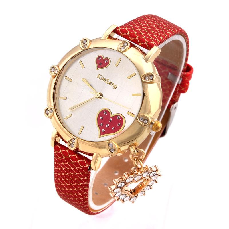 Kimseng Fashion Women Watches Rose Gold Heart Pendants Quartz Wristwatches 2015 New Style(China (Mainland))
