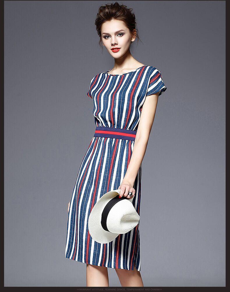 2015 Victoria New Brand summer short sleeve knee-length strip 75%Cotton 25%linen waist casual dress(China (Mainland))