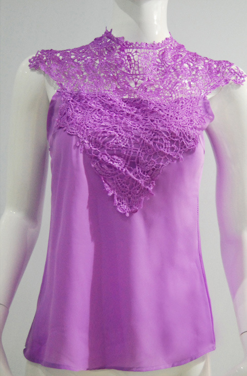 2016 Lace Chiffon Blouses Fashion Sexy Sleeveless Shirts Women's Summer Backless Tops Basic Crochet Tank Size M-XL(China (Mainland))