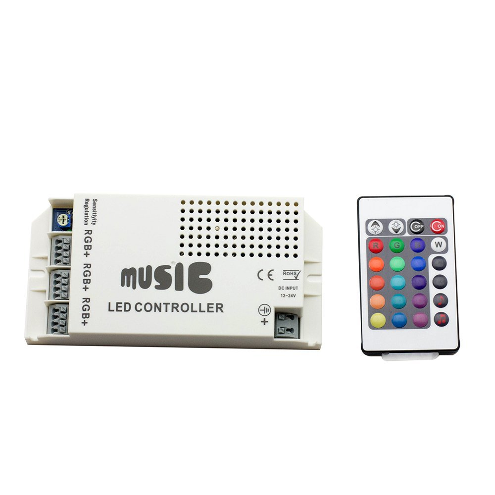 EPBOWPT DC 12-24V 9A 3 Channels Music Sound LED Controller with 24key IR Remote Control for RGB 5050 3528 5630 LED Strip Light(China (Mainland))