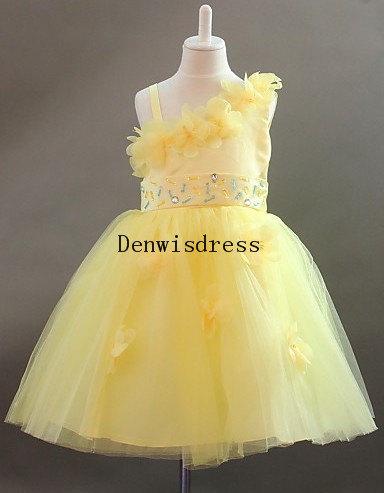 Yellow Tulle Satin Beaded Rustic Tutu Dresses Baby Dresses Toddler Birthday Dresses Wedding Dresses(China (Mainland))