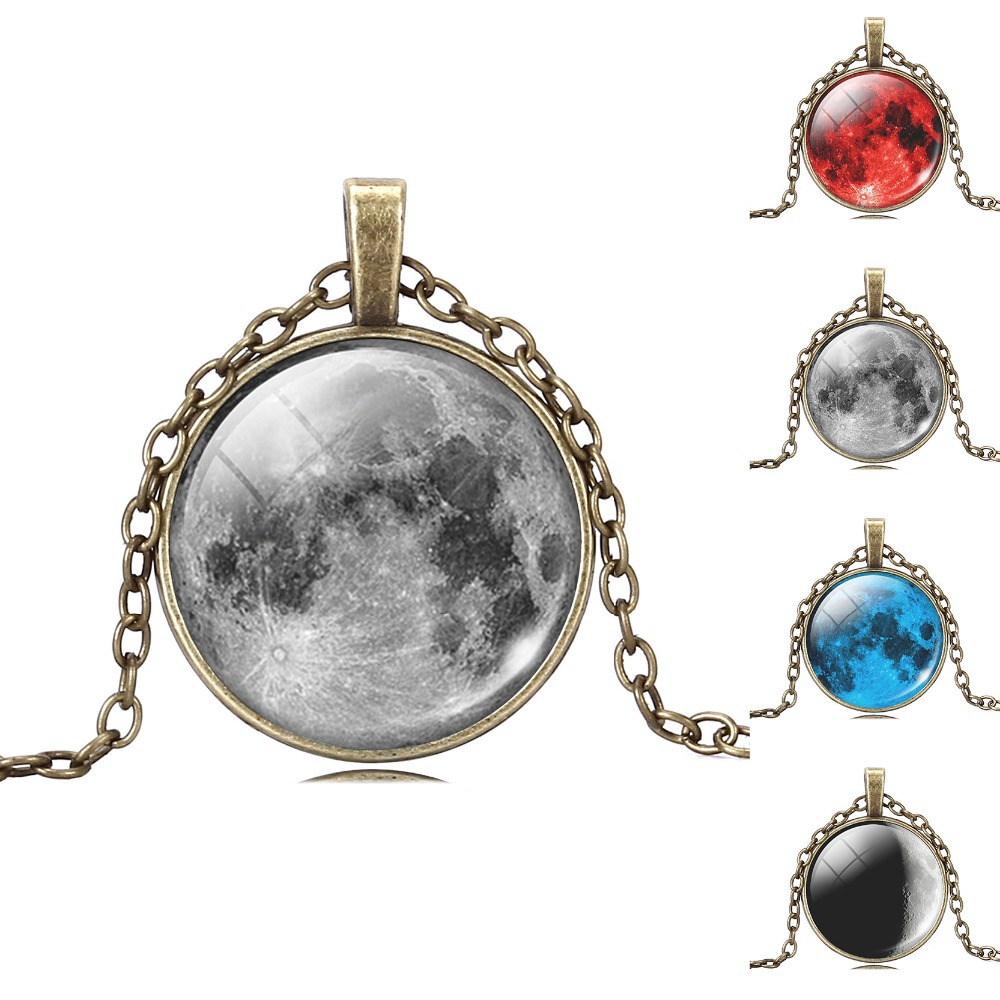 Vintage Glass Galaxy Cabochon Full Moon Necklace , Antique Bronze Pendant Chain Necklace , Jewelry For Fashion Women Men(China (Mainland))