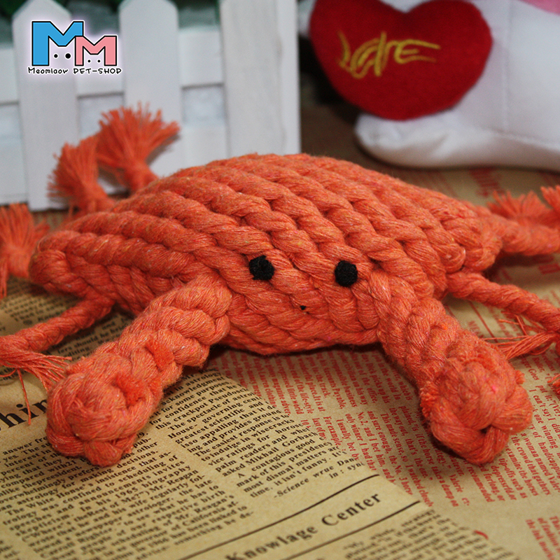 Braided crab Teddy dog toys puppy teeth bite resistant knots toys, pet supplies Bite chew toy Simulation of bones Small dogs(China (Mainland))