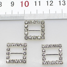 10pcs/Lot 16MM Square Silver Rhinestones Buckles Metal Diamante Diy Hair Accessory Wedding Decorative Ribbon deduction(China (Mainland))