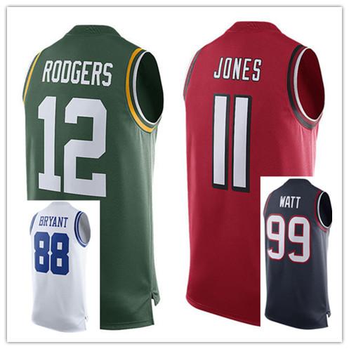 Cheap Men's Authentic #88 Dez Bryant #99 JJ Watt #11 Julio Jones #12 Aaron Rodgers Jerseys(China (Mainland))