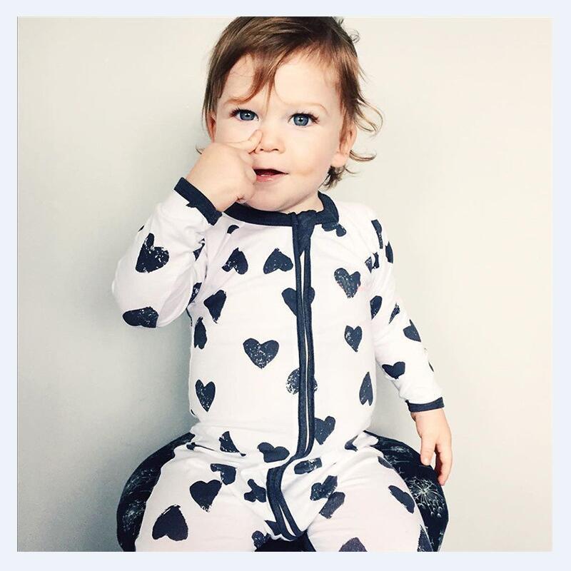 Baby Boy girls Heart printing Cotton sleepwear long sleeve O-Neck Romper Jumpsuit nfantil pajamas(China (Mainland))