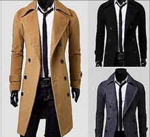 Qiu dong long double-breasted trench coat About man's coat The fashion leisure cultivate one's morality men's coats(China (Mainland))