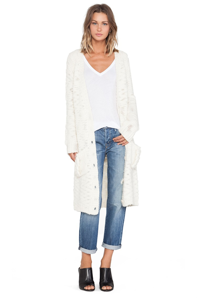 White Mid-Long Sweater Coat Fashion Women Single Breasted V-Neck Cardigans Sweaters Casual Female Loose Knitwear Coats 1014(China (Mainland))