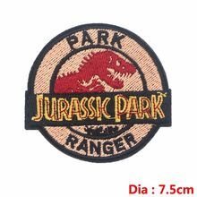 Pulaqi High Quality Jurassic Park Patches Iron-on Embroidered Sewing Applique For Clothes Apparel DIY Dinosaur Badges Parches H(China)