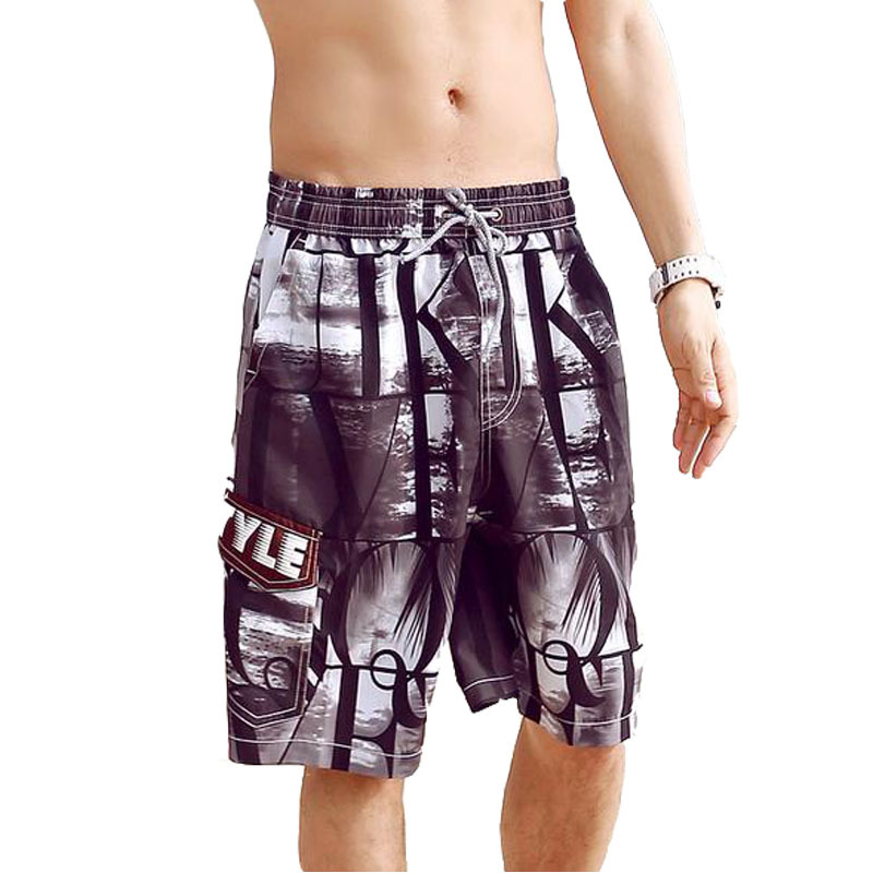 Beach Shorts Men Casual Boardshorts Elastics Waist Black Printing Summer Quick Dry Bermuda Size L-XXL - Romantic Beachwear store