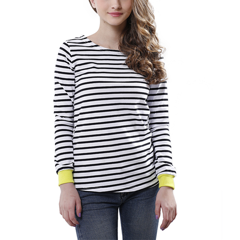 High quality women tops o neck t shirt long sleeve black for Black and white striped long sleeve shirt women