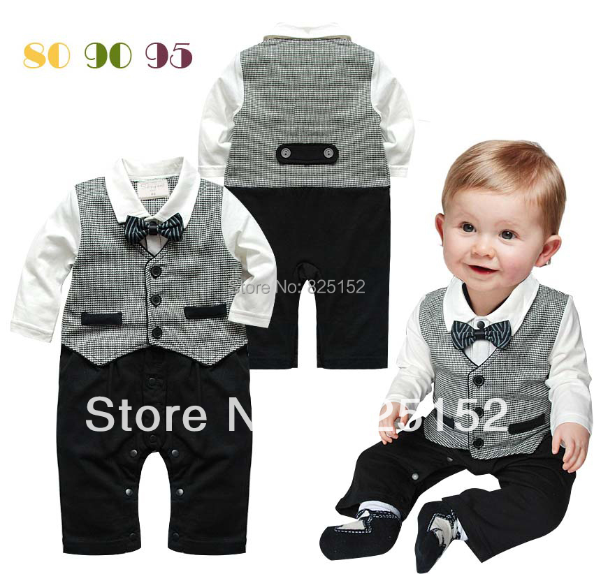 Free Shipping 1pc NWT Baby Boy Newborn Kids Toddler Children Bowknot Gentleman Formal Romper Jumpsuit Clothes Striped(China (Mainland))