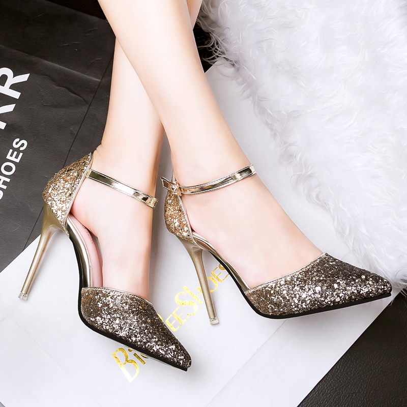Fashion Sequined Two piece OL Pumps High Heel Pump Shoes Red Bottom Sexy Party Wedding Shoes Womans Elegant and Shinning Choice(China (Mainland))