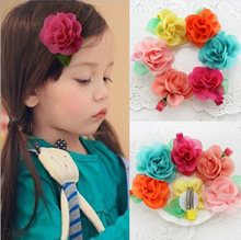 30pcs Europe&US Hot Gauze Leaf Rose Flower Kids Girl Hairpin Fancy Dress Gift Children HairClip Nice Headwear Accessories Cabelo