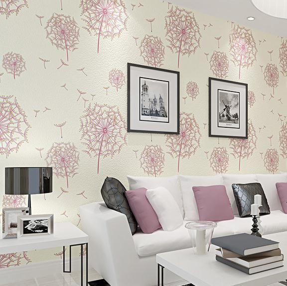 Pastoral Style 3D Dandelion Wallpaper Roll For Bedroom Background Pink Light Yellow Wallpapers Home Decoration wall world(China (Mainland))