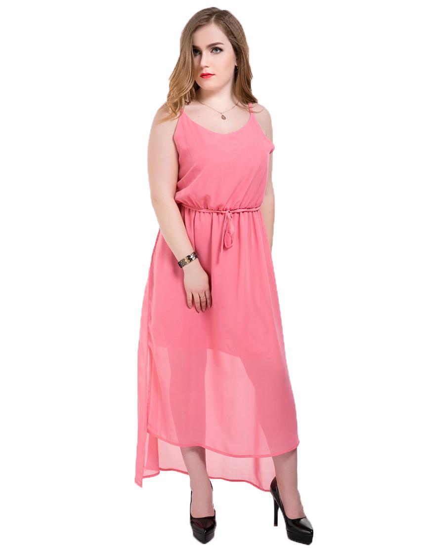 Plus Size Women Beach Dress Chiffon Summer Dress Elegant Casual Maxi Vestidos De Festa Spaghetti Strap Pink Color Summer Dress(China (Mainland))