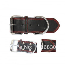 Quality leather pet collars dog collar three-car chrome accessories Hardware Black red dog collar sewing
