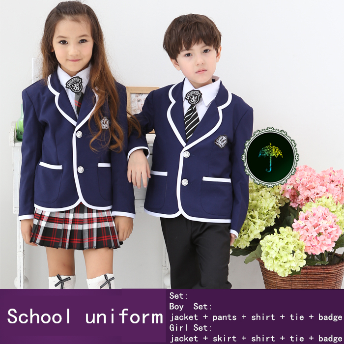 British Institute school uniforms kids clothes baby boy and girl clothes for height 100-150CM clothing set 50(China (Mainland))