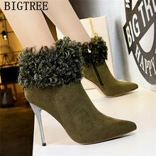 Mokasen kürk botları yüksek topuk çizmeler Bigtree ayakkabı sivri burun yüksek topuklu yarım çizmeler Botas Mujer Invierno 2020 Ayakkabi(China)