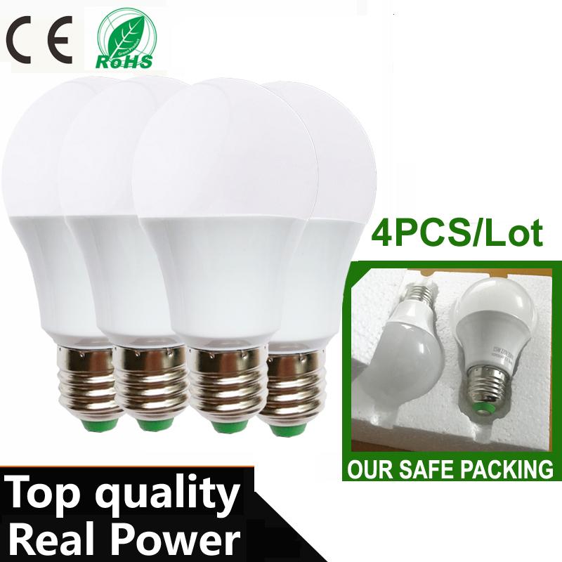 4PCS/Lot LED Bulb Lamps E27 110 220V Light Bulb Smart IC Real Power 3W 5W 7W 9W 12W 15W High Brightness Lampada LED Bombillas(China (Mainland))