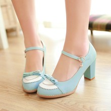 2015 Ladies Leather,Platforms,Lady Fashion Lolita Shoes Sexy Bow High Heel Shoes Women Pumps Women's Wedding Shoes size 34-43