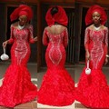 Luxury Crystal 2017 African Mermaid Evening Dresses Beaded Full Sleeves Nigeria Long Prom Gowns Big O
