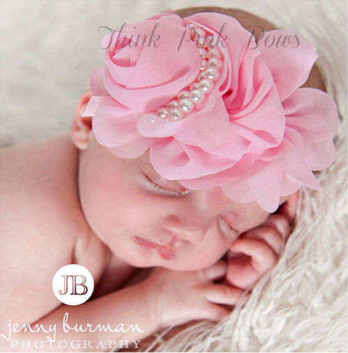 12 Цветов симпатичные новорожденный Ребенок Цветок Оголовье Перл Розы Аксессуары ...