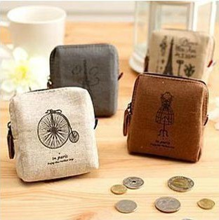 Stationery Vintage Fashion Exquisite Effiel Tower Key Bicycle Dress Lovely Square Canvas Coin Purse Key Case Zipper Storage Bag