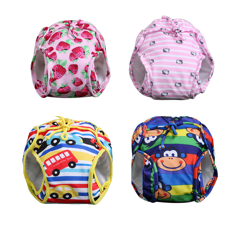 2016 Toddler Baby Swimwear Diapers Girls Fashion Character Reusable Waterproof Nappies Bathing Suit Infant Boy Swimming Trunks