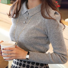 Women Sweater 2016 New Fashion Casual Spring Autumn Women Solid Color Buttons Work Office Pullover Slim Knitted Sweaters WZM1069(China (Mainland))
