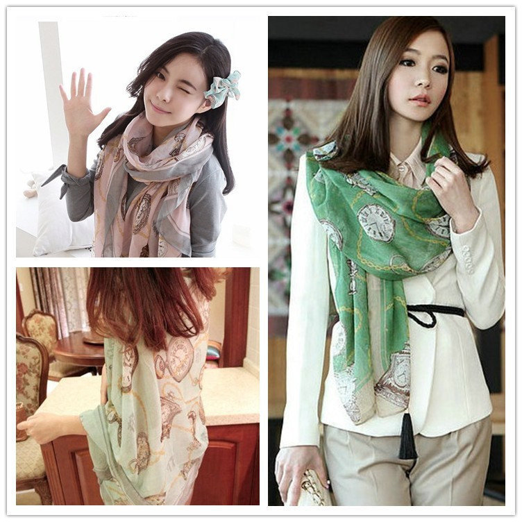 2014 Fashion Clock Pattern Print Women Scarfs 4 Colors Styles Voile Ladies Pashmina Brand Shawls s W102 - Yu BeautyIng Industry Co.,Ltd. store