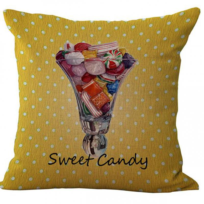 Hot Selling Western Dessert Ice Cream Cake Printing Cotton Linen Pillow Case Home Pillowcase For Kids