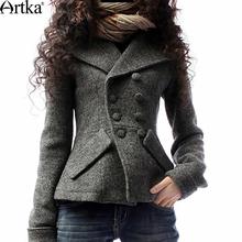 Artka Women's Winter Fashion Turn-Down Collar Thicken Wool Jacket Double Breasted Slim Waist Woolen Outerwear A09792(China (Mainland))