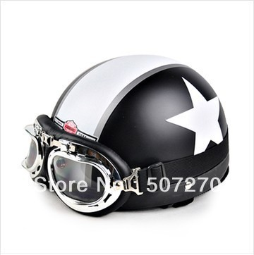 IBK.44 - ABS Half Face Ebike Vespa Casco Motorcycle Matte Black # White Star Stripe Helmet & UV Goggles Size M L XL(China (Mainland))